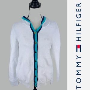 Tommy Hilfiger white Cable Knit Hooded Sweater L